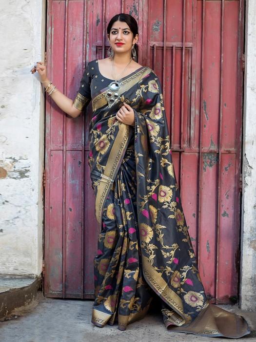 Black Banarasi Silk Gorgeous Saree