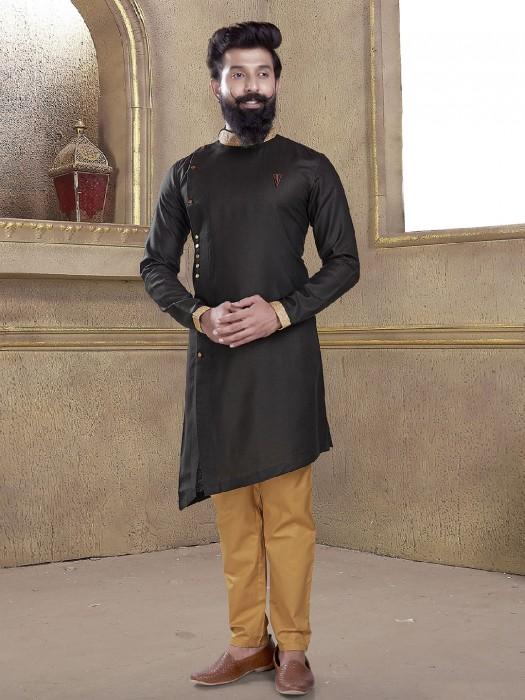 Black Color Cotton Silk Fabric Kurta Suit For Festive