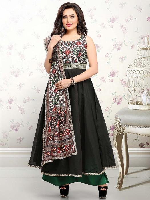 Black Color Cotton Silk Festive Floor Length Anarkali Salwar Suit