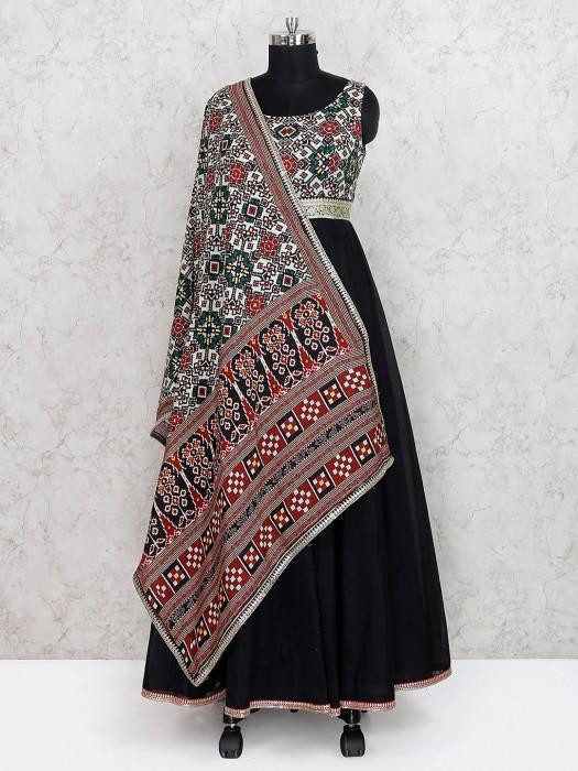 Black Color Cotton Silk Printed Long Salwar Suit