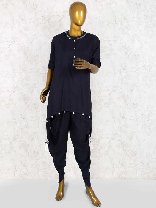 Black Color Dhoti Suit In Cotton