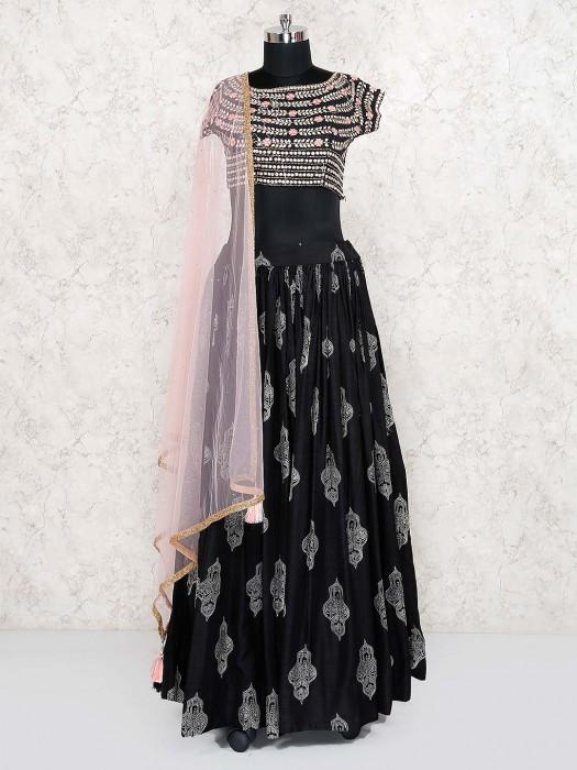 Black Color Festive Wear Cotton Silk Lehenga Choli