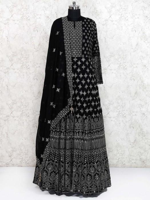 Black Color Georgette Fabric Floor Length Anarkali Salwar Suit