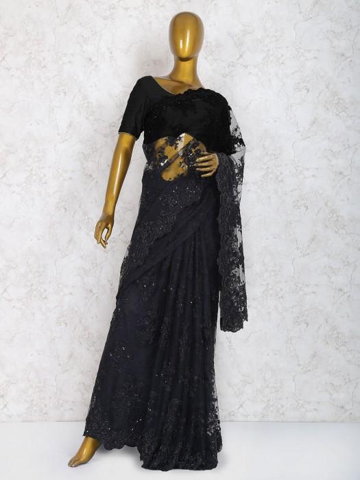 Black Color Net Saree