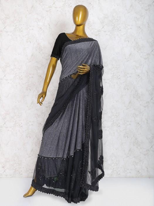 Black Color Party Wear Saree In Net