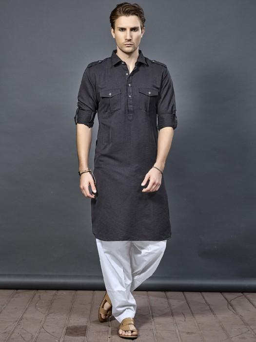 Black Color Pathani Suit For Festive Wear