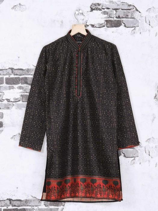 Black Color Printed Silk Festive Kurta Suit