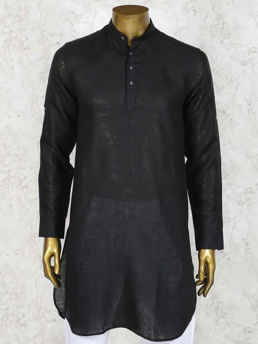 Black Color Solid Linen Cotton Short Pathani