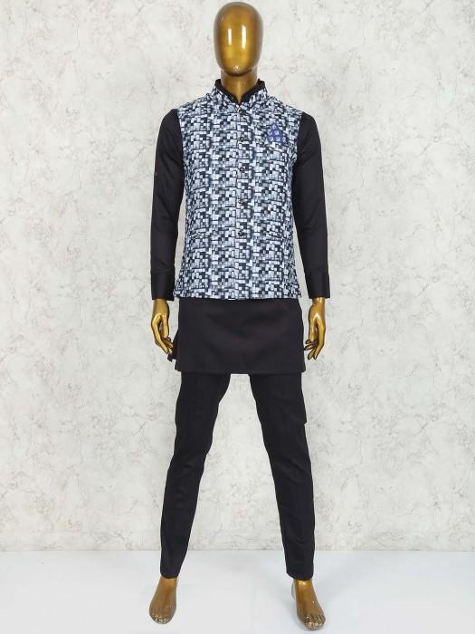 Black Colored Printed Waistcoat Set