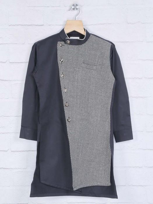 Black Cotton Festive Wear Kurta Suit