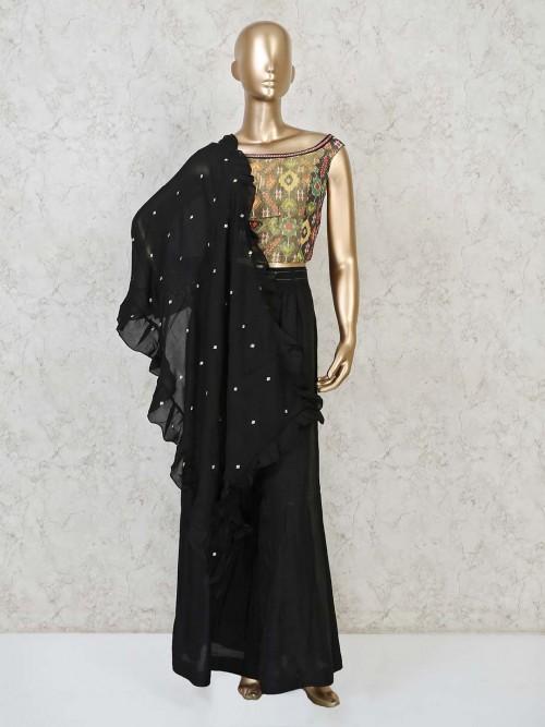 Black Cotton Festive Wear Printed Palazzo Set