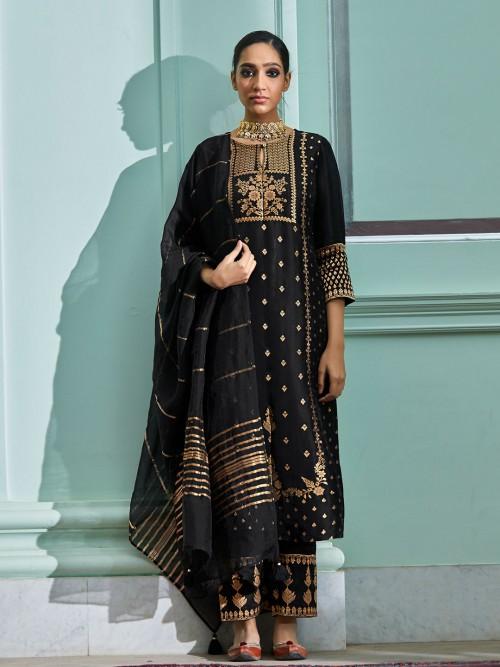 Black Cotton Festive Wear Punjabi Salwar Suit