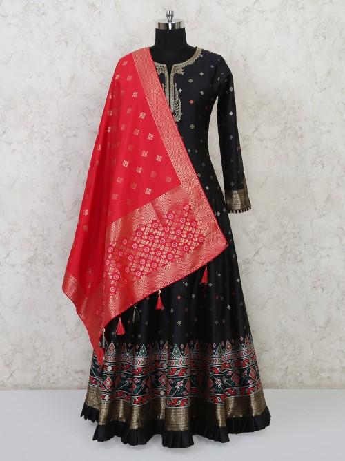 Black Cotton Silk Anarkali Suit Special For Festive