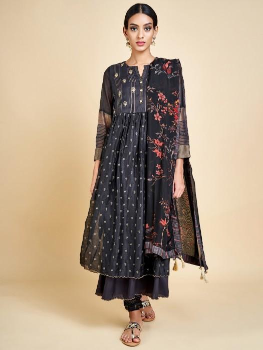 Black Cotton Silk Designer Salwar Suit