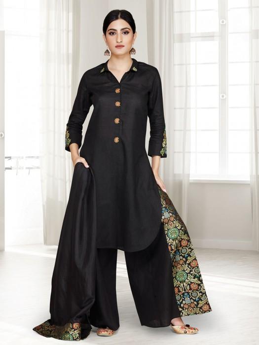 Black Cotton Silk Punjabi Palazzo Suit