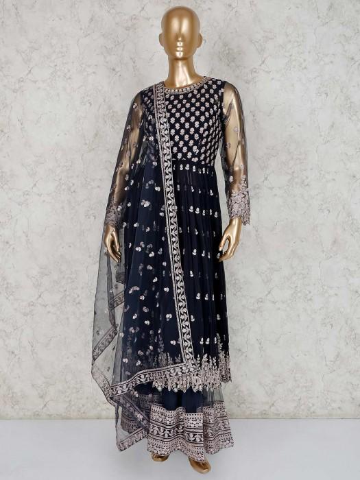 Black Designer Georgette Sharara Suit For Festive