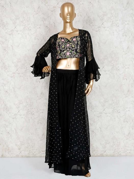 Black Designer Jecket Style Georgette Crop Top Sharara Suit
