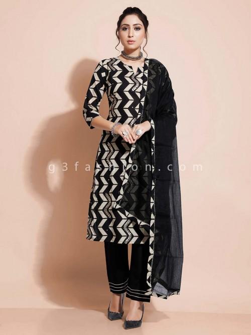 Black Designer Pant Salwar Suit In Cotton For Festives