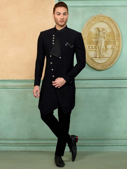 Black Designer Terry Rayon Fabric Indo Western