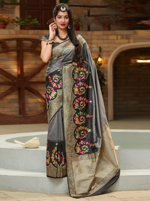 Black Festive Zari Woven Banarasi Silk Saree