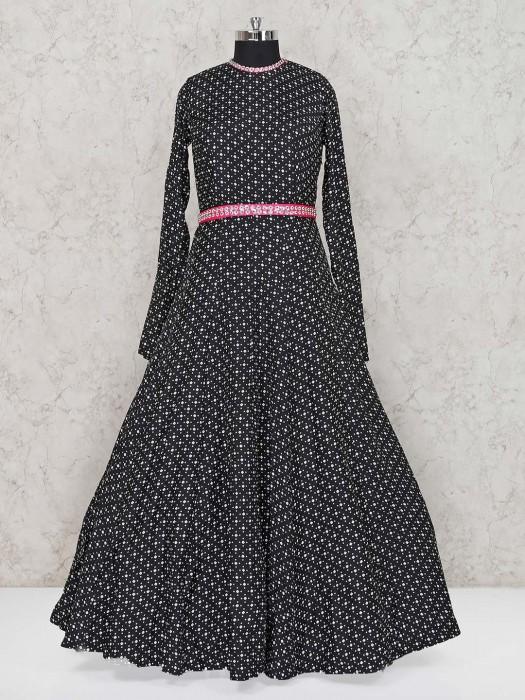 Black Floor Length Cotton Printed Anarkali Suit