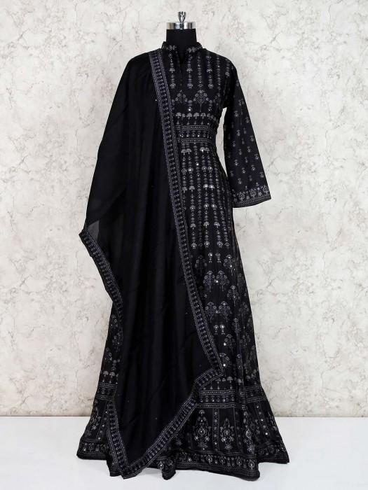 Black Georgette Anarkali Floor Length Salwar Kameez
