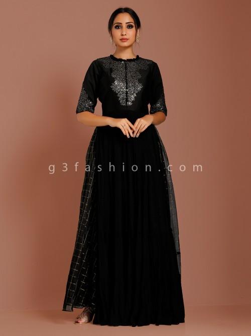 Black Georgette Party Function Anarkali Suit