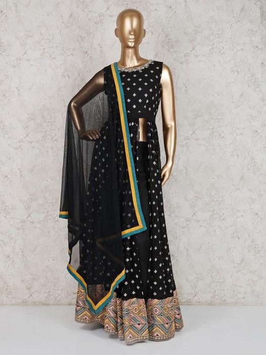 Black Georgette Party Wear Floor Length Salwar Suit
