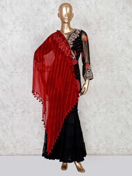 Black Georgette Printed Sharara Suit