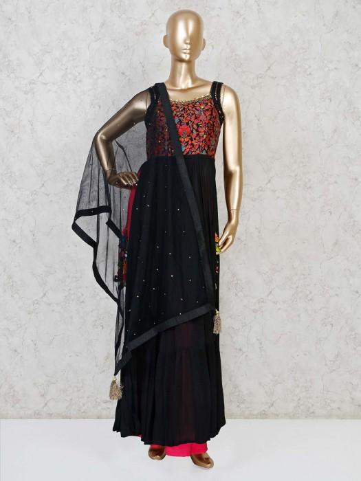 Black Georgette Thread Weaving Anarkali Palazzo Suit