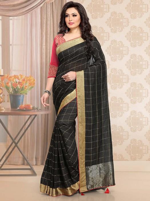 Black Hue Cotton Festive Checks Saree