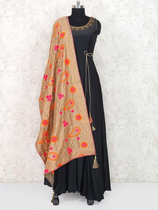 Black Hue Cotton Floor Length Anarkali Suit
