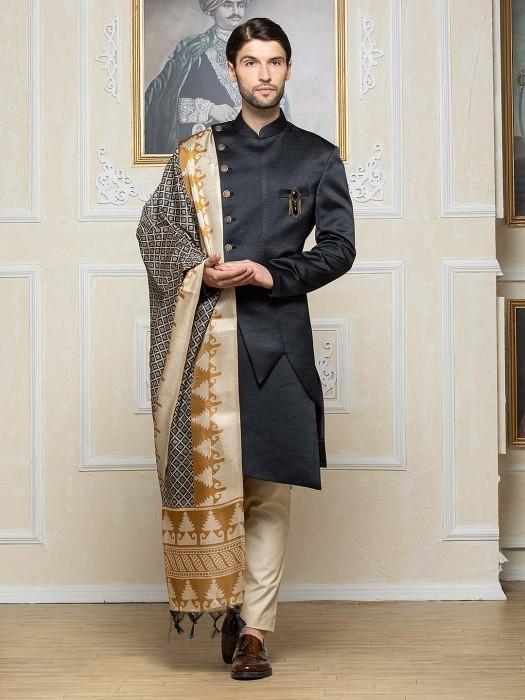 Black Hue Raw Silk Party Wear Designer Indo Western