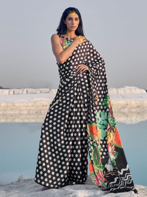 Black Printed Festive Wear Saree