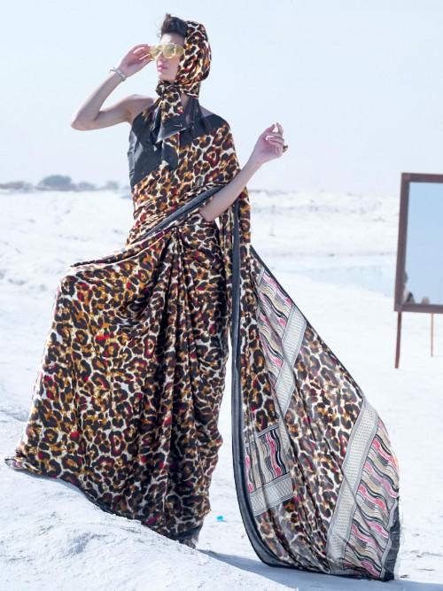 Black Satin Printed Festive Wear Saree