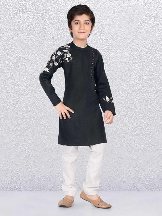 Black Simple Kurta Suit For Champ