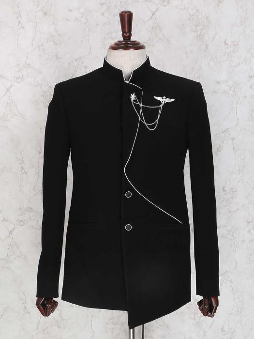 Black Solid Terry Rayon Jodhpuri Suit