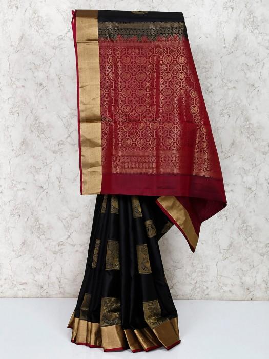 Black South Silk Festive Wear Saree