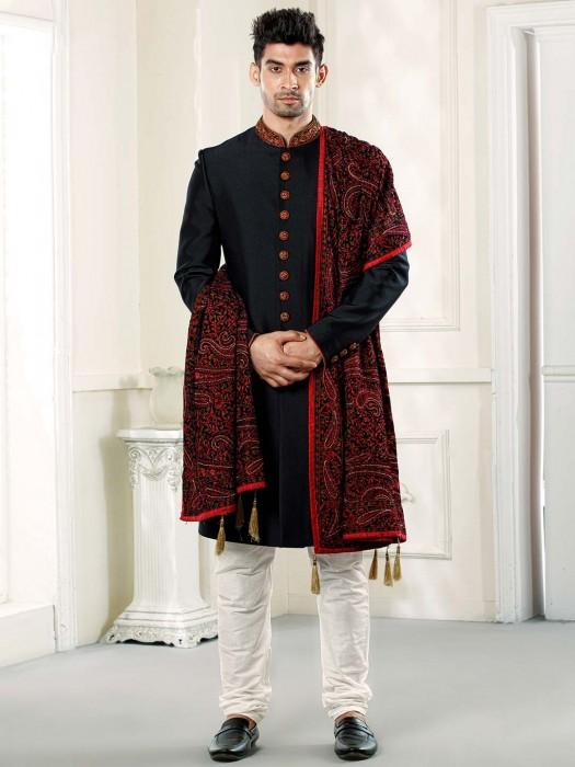 Black Terry Rayon Solid Wedding Sherwani