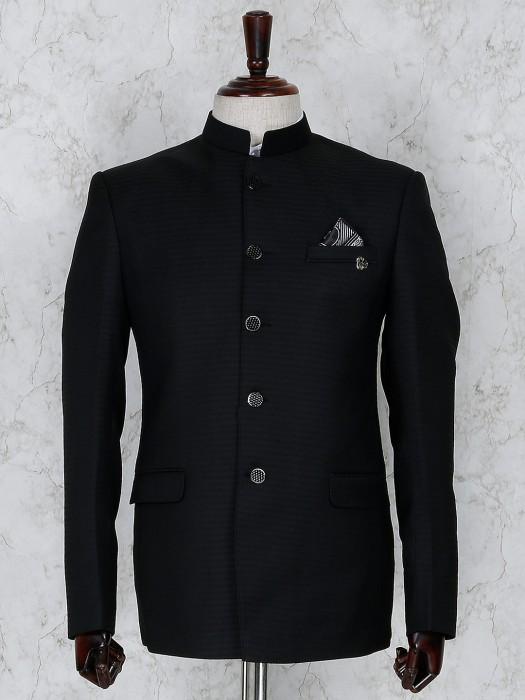 Black Texture Pattern Jodhpuri Blazer