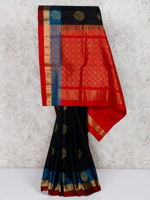 Black Wedding Wear South Silk Saree