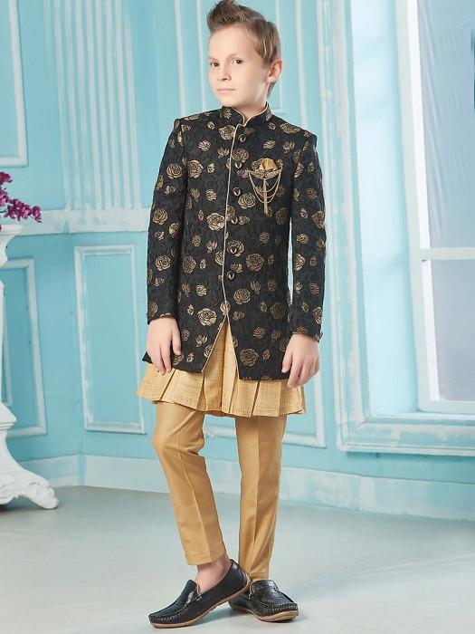 Black Zari Weaving Raw Silk Fabric Indo Western