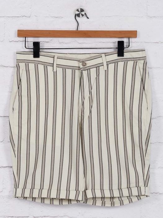 Blackberrys Stripe Casual Cream Shorts