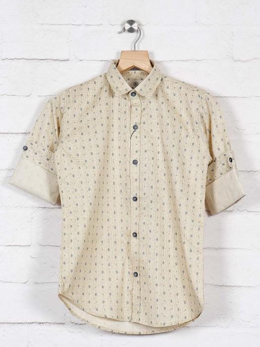 Blazo Beige Printed Cotton Fabric Shirt