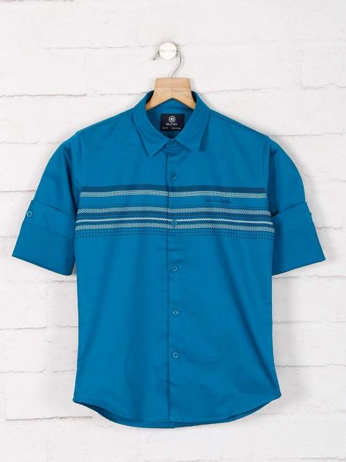 Blazo Green Stripe Cotton Shirt