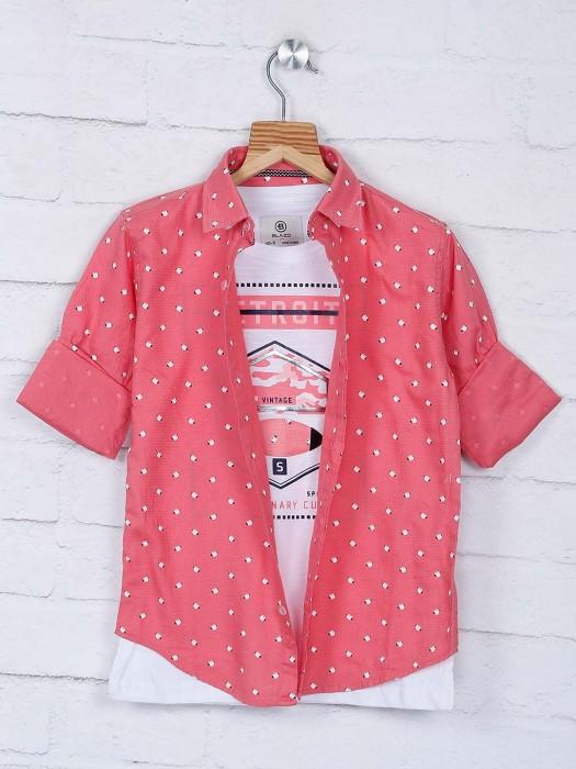 Blazo Peach Printed Casual Wear Shirt