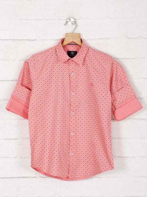 Blazo Printed Pink Hue Cotton Shirt