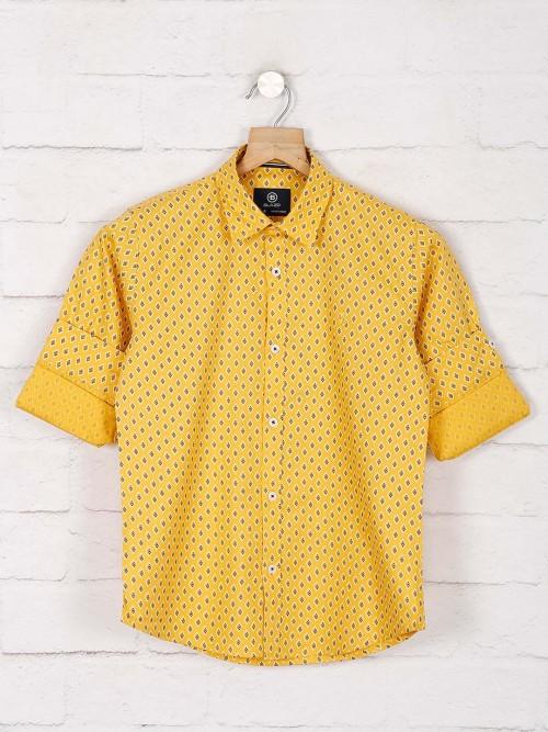 Blazo Yellow Printed Pattern Full Sleeve Shirt