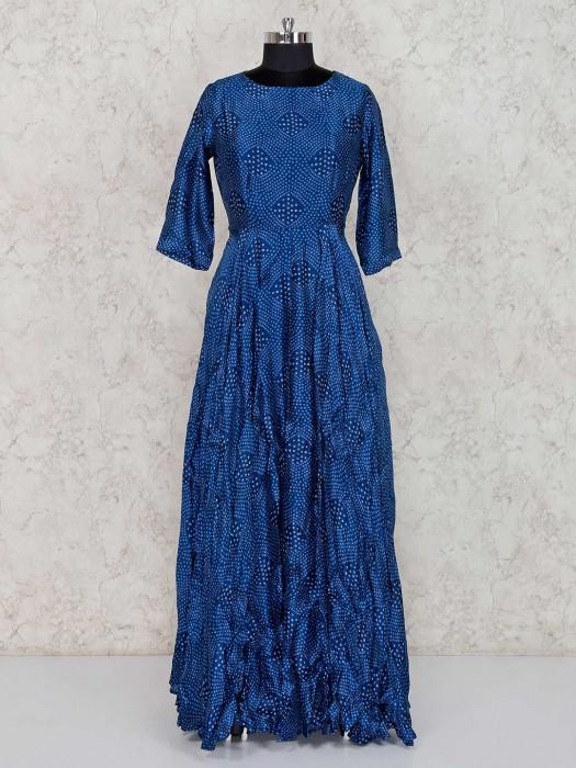 Blue Bandhej Printed Anarkali Salwar Suit