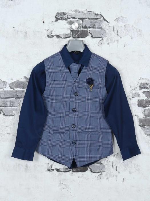 Blue Color Checks Boys Waistcoat